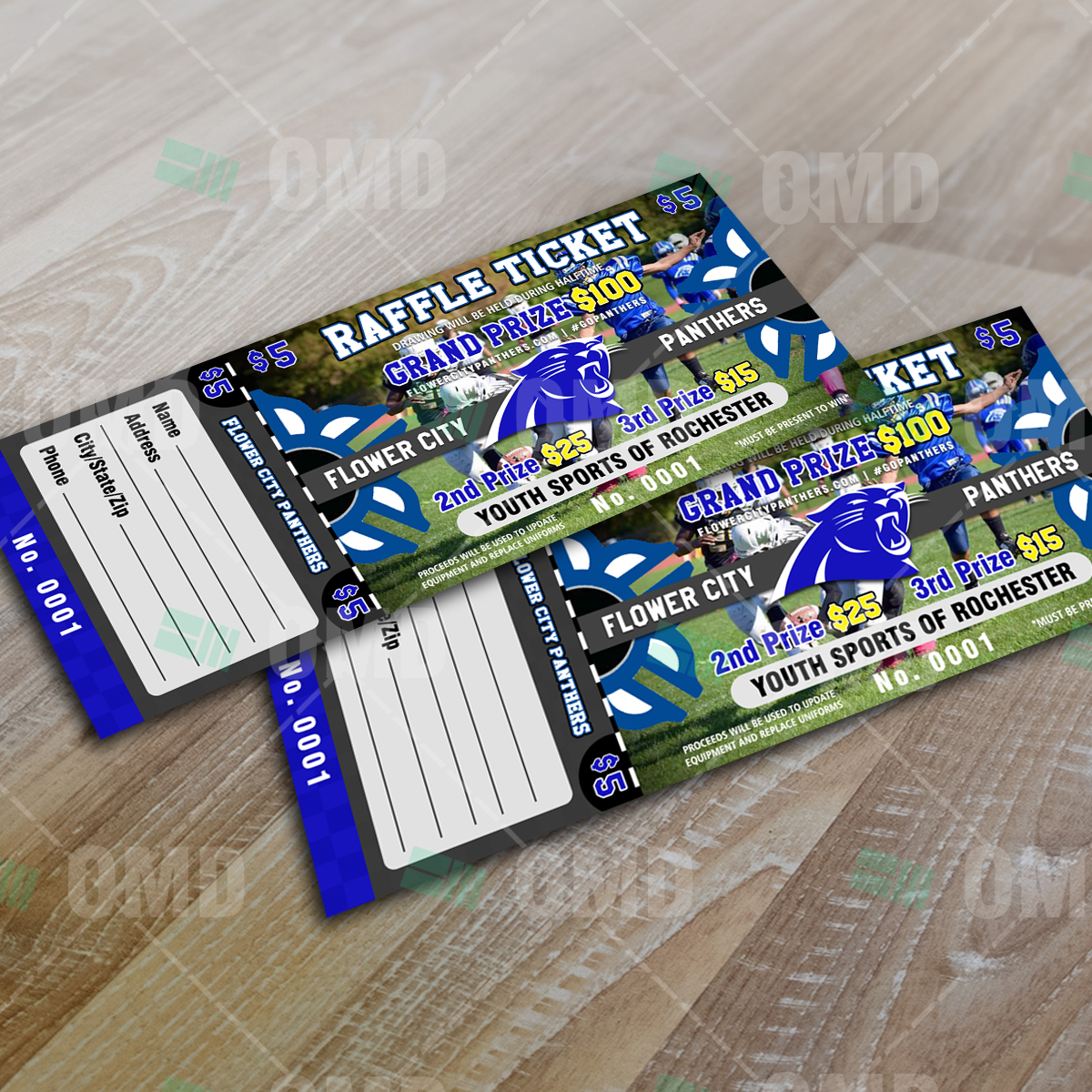 sports invites youth football raffle ticket flower city panthers raffle ticket design product 2 1