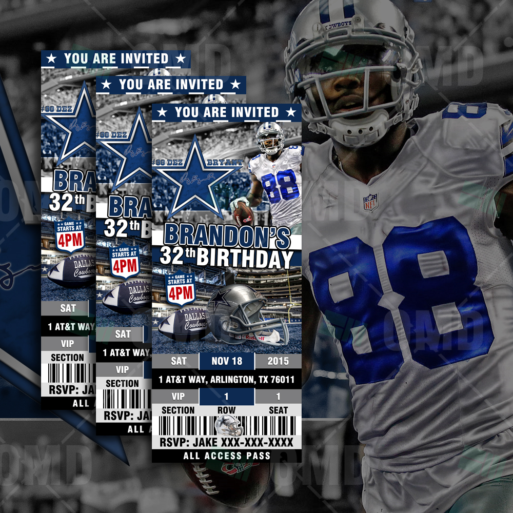 Sports Invites Dallas Cowboys Ticket Style Sports Party Invitations – Dallas Cowboys Birthday Invitations