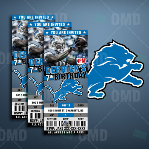 Printable Birthday Party Invitation Card Detroit Lions: New York Giants Ticket Style