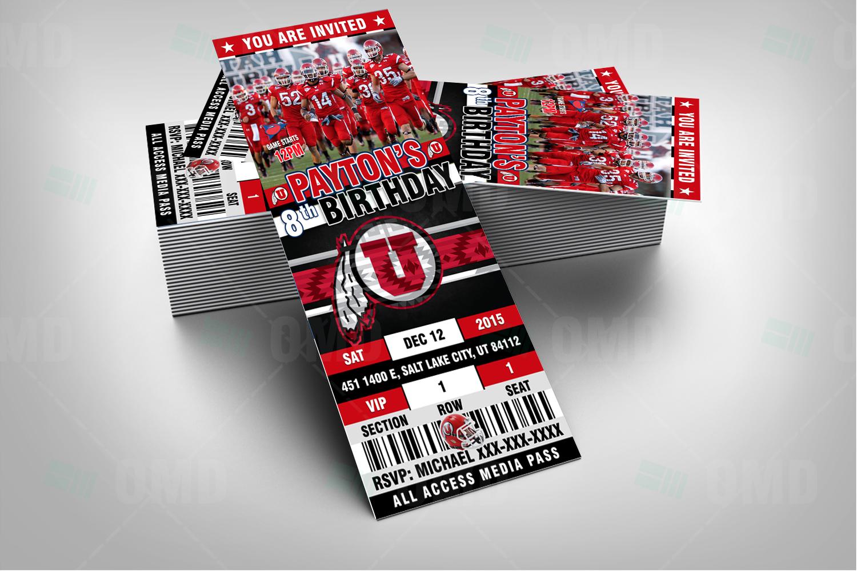 2.5×6 Utah Utes Ticket Style Sports Party Invitations – Sports Invites
