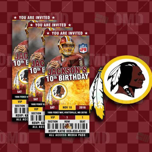Washington Redskins Custom Candy Bar Wrapper Sports Invites