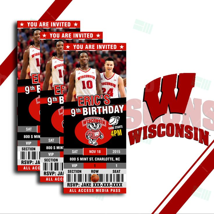 wisconsin badgers invite 1 product 1 - Basketball Party Invitations