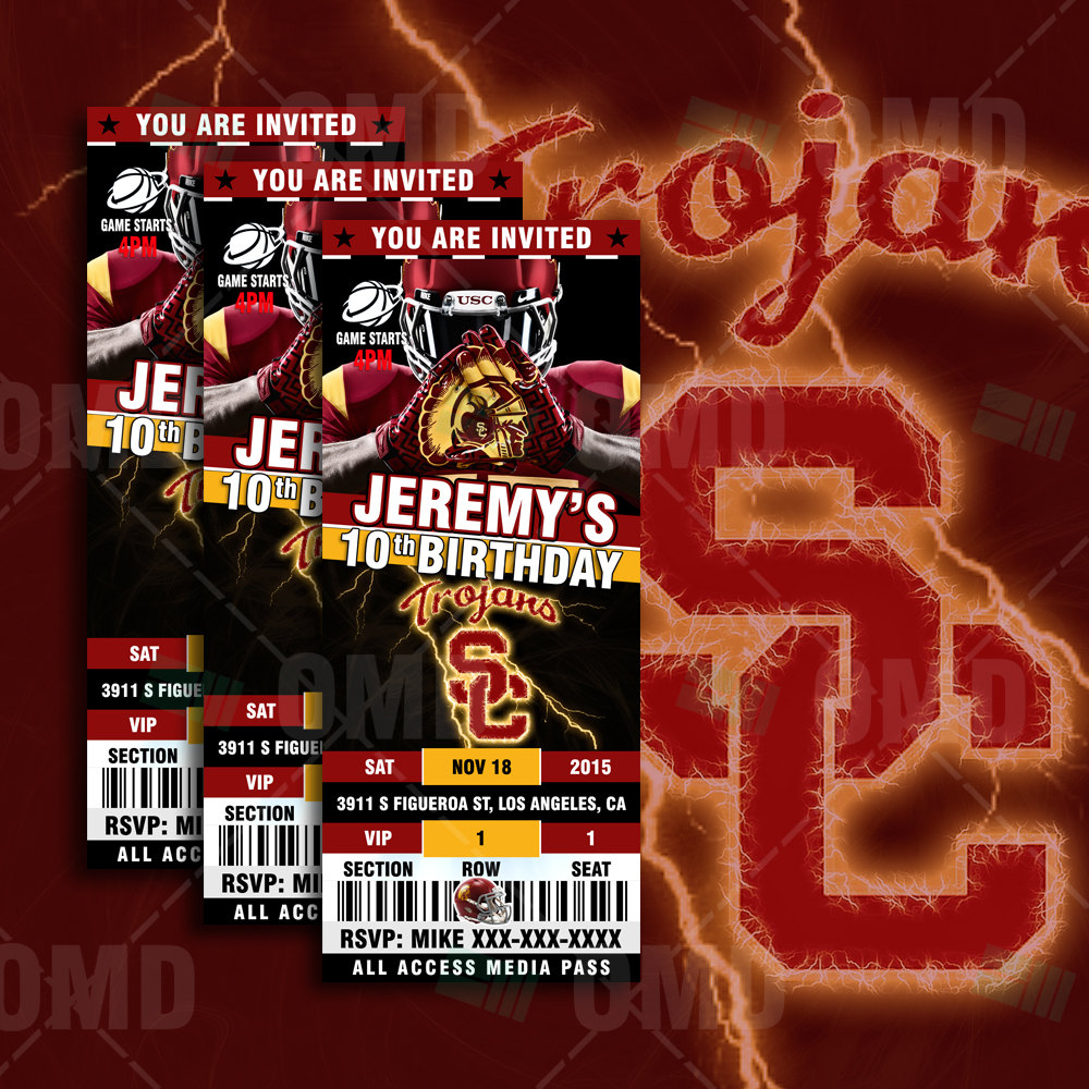 Sports Invites - USC Trojans Ticket Style Sports Party Invitations
