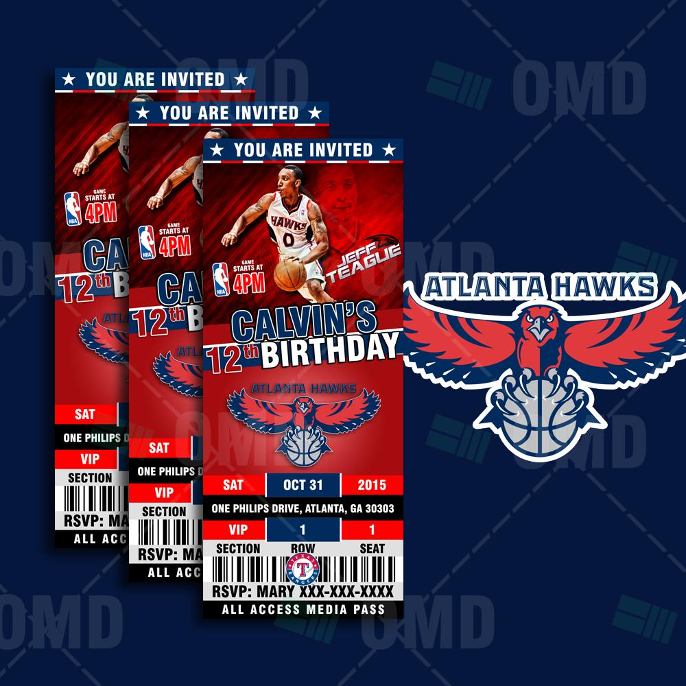 2.5×6″ Atlanta Hawks Basketball Ticket Style Sports Party Invites ...