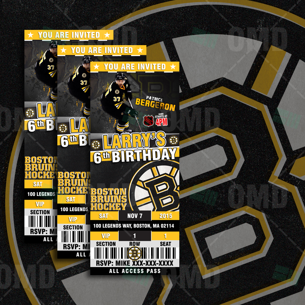Sports Invites 256 Boston Bruins Ticket Style Sports Party