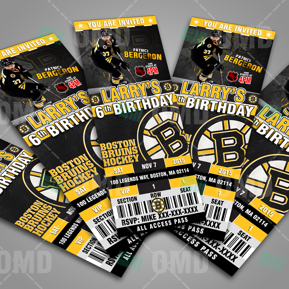 2 5 215 6 Boston Bruins Ticket Style Sports Party Invitations