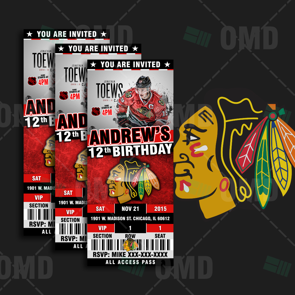 Chicago Blackhawks Ticket Style Sports Party Invitations – Sports ...