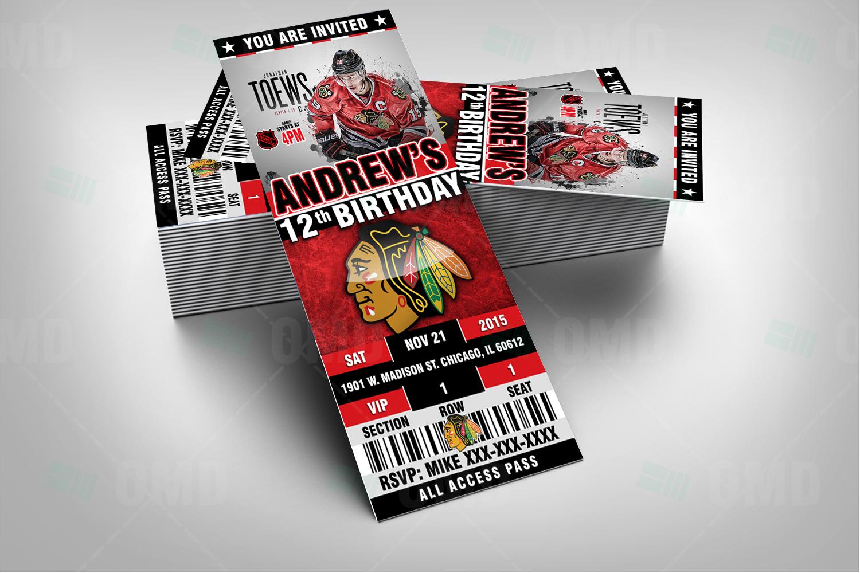 Chicago Blackhawks Ticket Style Sports Party Invitations – Sports ...