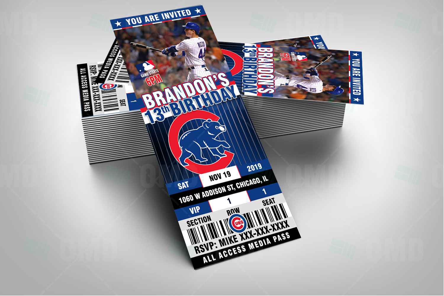 Chicago Cubs Ticket Style Sports Party Invitations