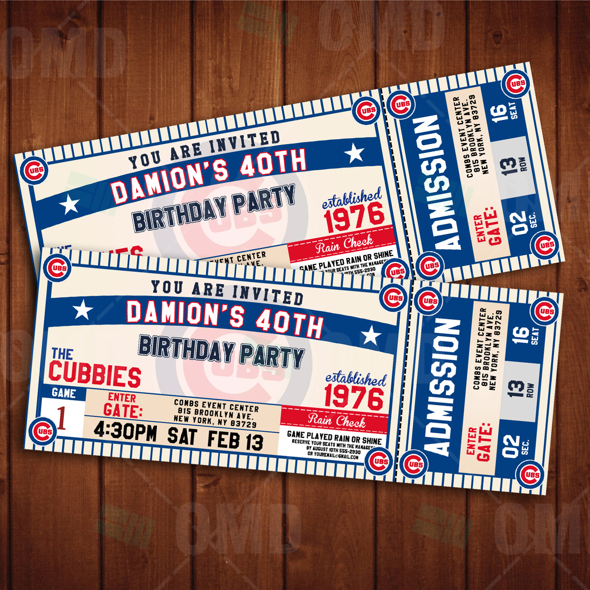 Sports Invites Chicago Cubs Ticket Style Sports Party Invitations – Ticket Style Birthday Invitations