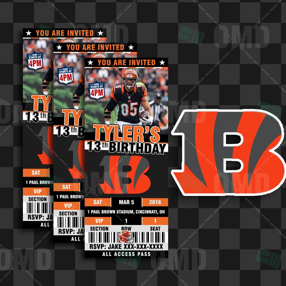 Cincinnati Bengals Sports Party Invitations – 2.5×6″ – Sports Invites