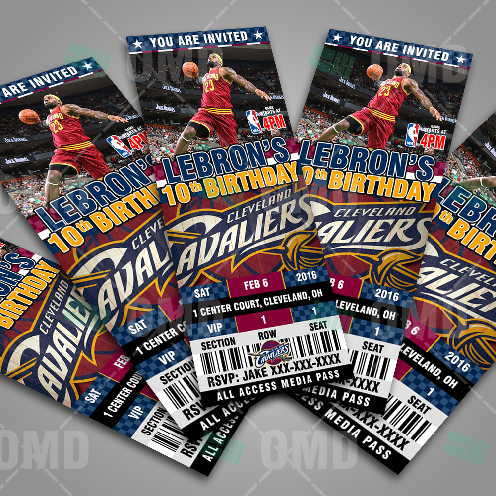 Sports Invites - Cleveland Cavaliers Ticket Style Sports Party Invites
