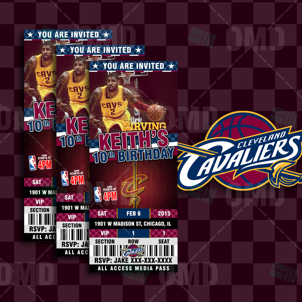 sports invites cleveland cavaliers sports ticket style party invites. Black Bedroom Furniture Sets. Home Design Ideas