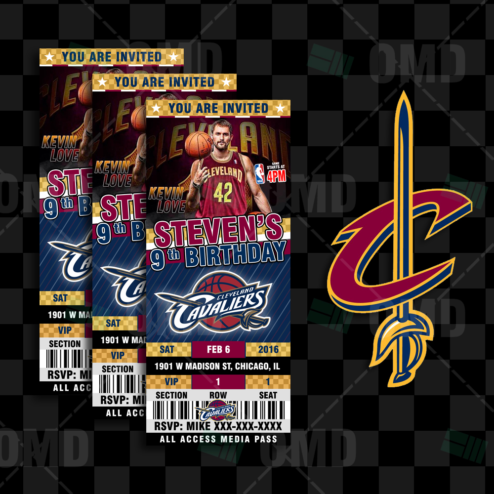 Sports Invites - 2.5×6″ Cavaliers Sports Party Cleveland Invitations