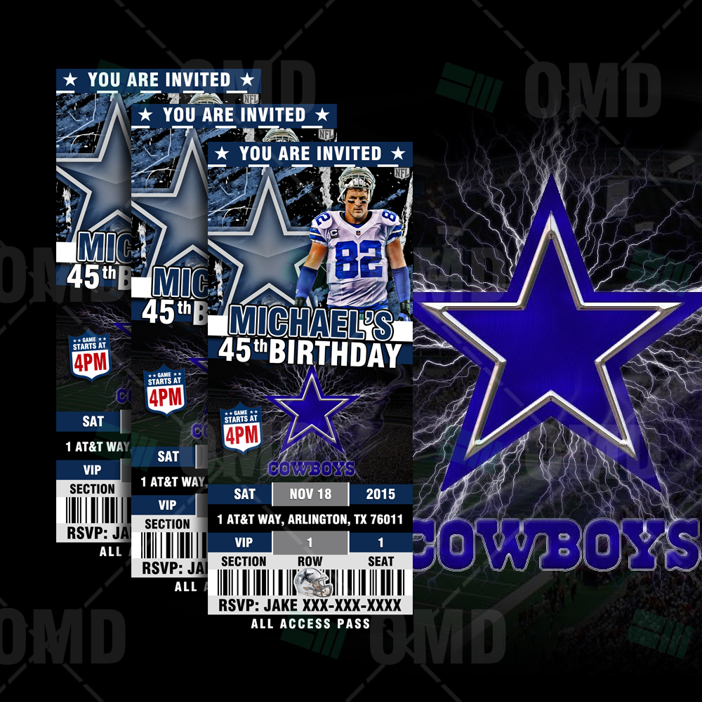 Sports Invites Dallas Cowboys Football Ultimate Party Package – Dallas Cowboys Birthday Invitations