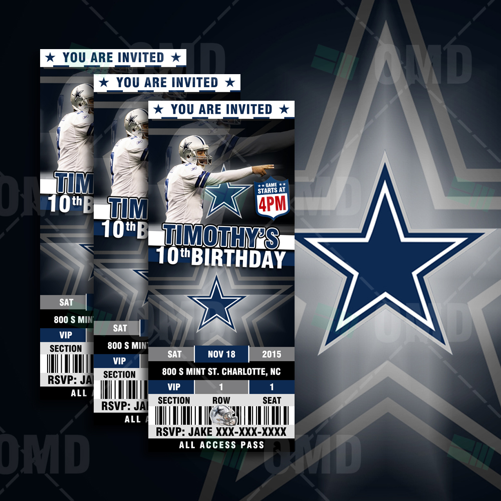 Sports Invites Dallas Ticket Sports Party Cowboys Invitations – Dallas Cowboys Birthday Invitations