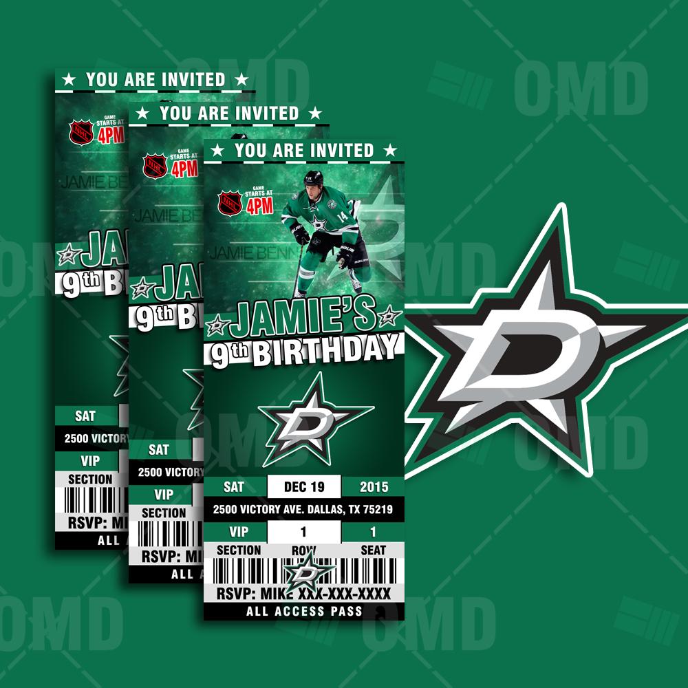 Sports Invites 2 5 215 6 Dallas Stars Sports Party Invitations