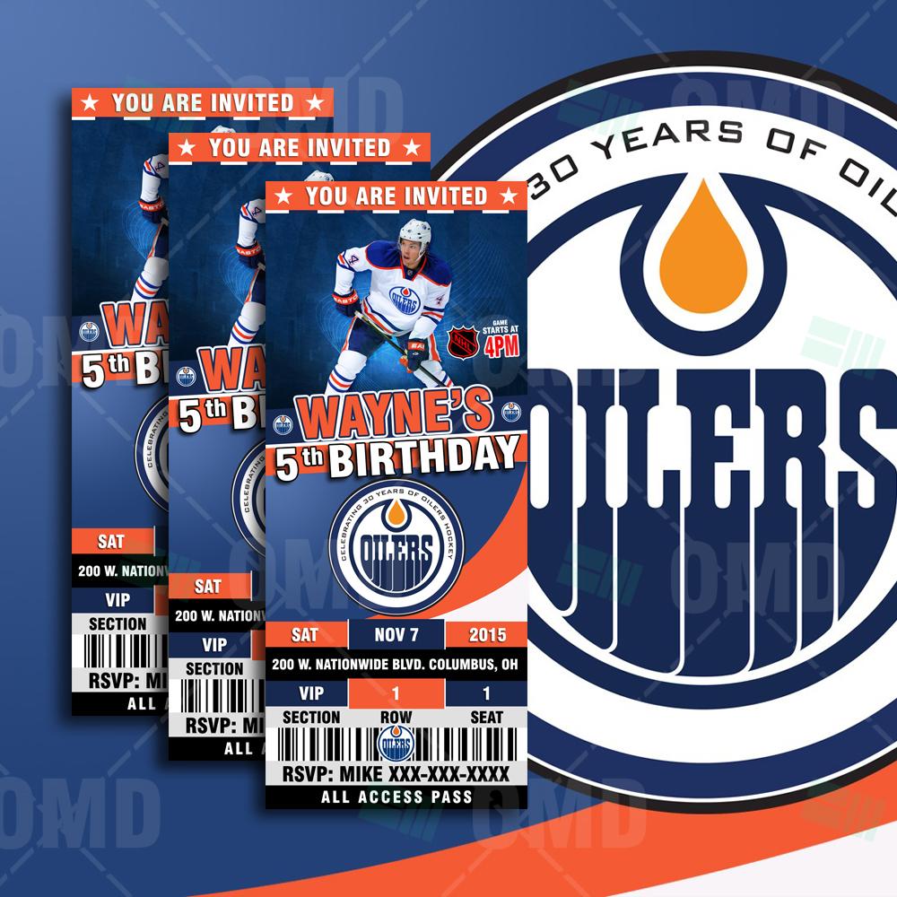 Sports Invites - 2.5×6 Edmonton Oilers Sports Party ...