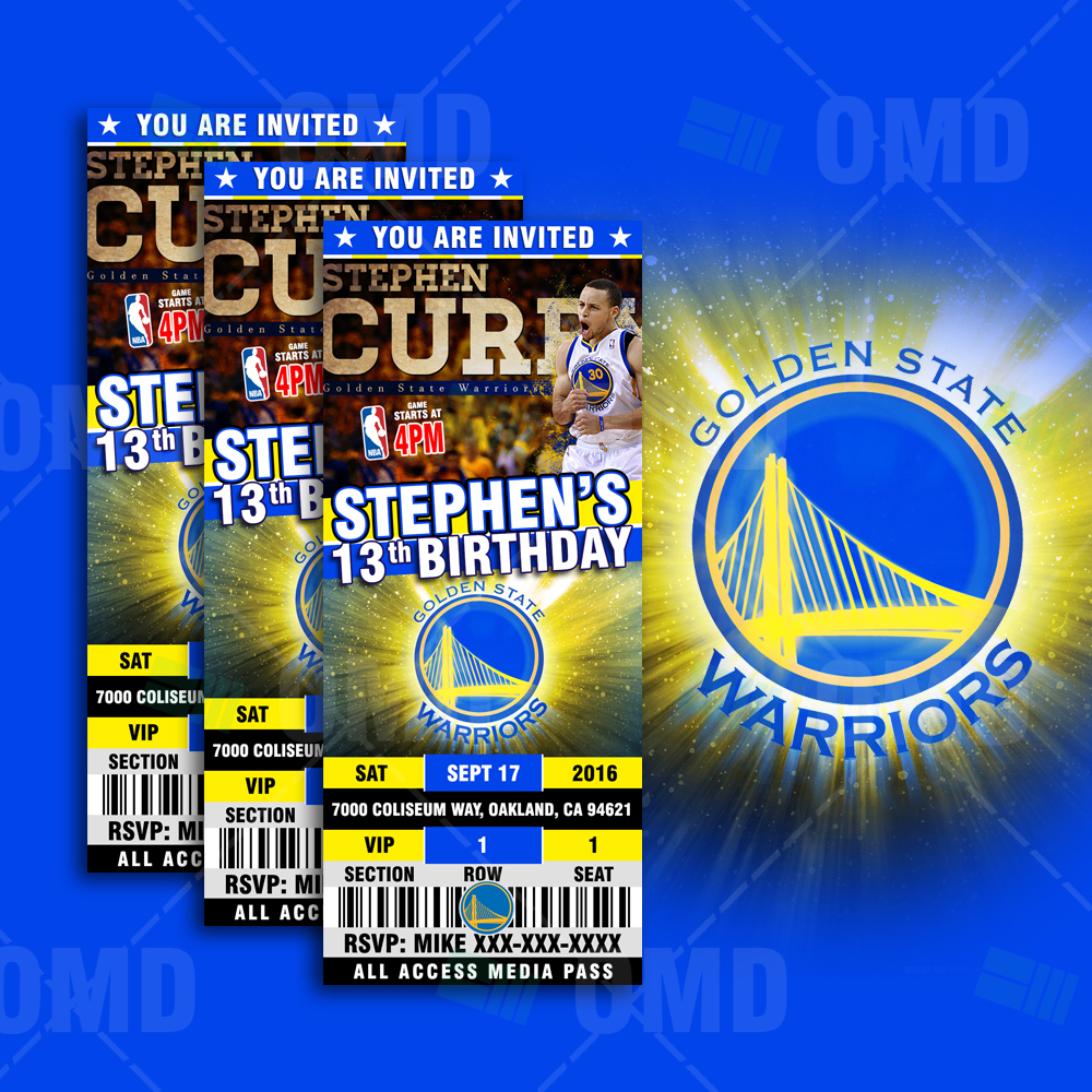 Golden State Warriors: Golden State Warriors Sports Ticket Style Party Invites
