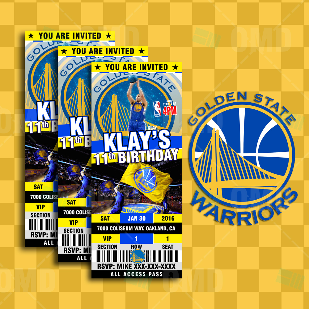 Sports Invites - 2.5×6 Golden State Warriors Sports Ticket Style ...