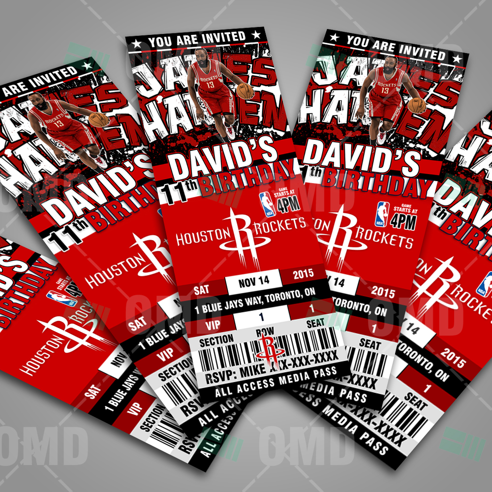 2 5 6 houston rockets sports ticket style party invite sports invites. Black Bedroom Furniture Sets. Home Design Ideas