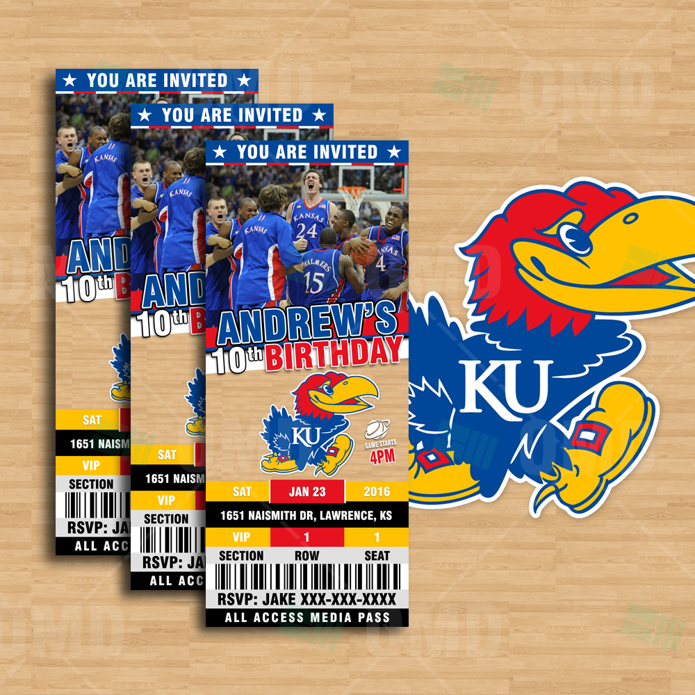 Sports Invites 25 6 Kansas Jayhawks Sports Party Invitations – Basketball Birthday Invitations