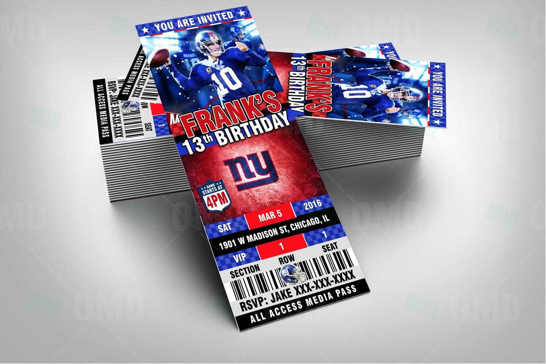 Sports Invites New York Giants Ticket Style Sports Party Invitations – New York Party Invitations