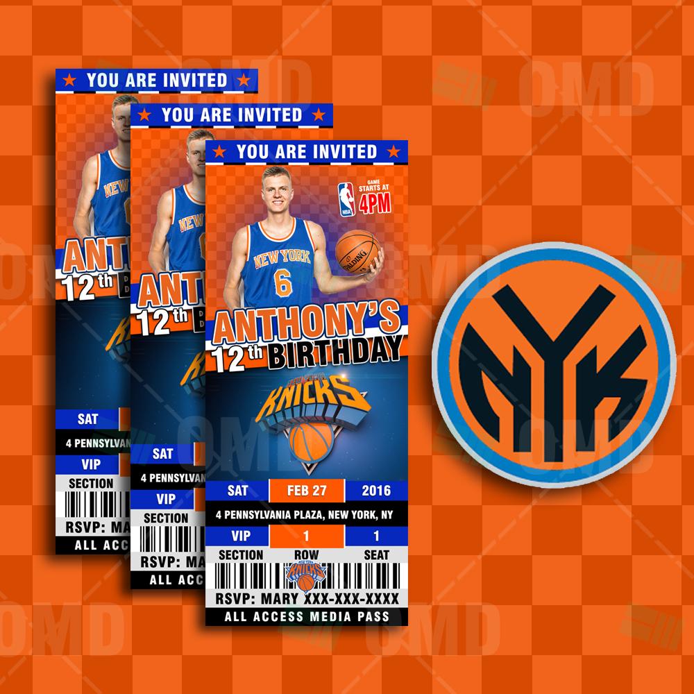 New York Knicks Sports Ticket Style Party Invite 2 5 215 6