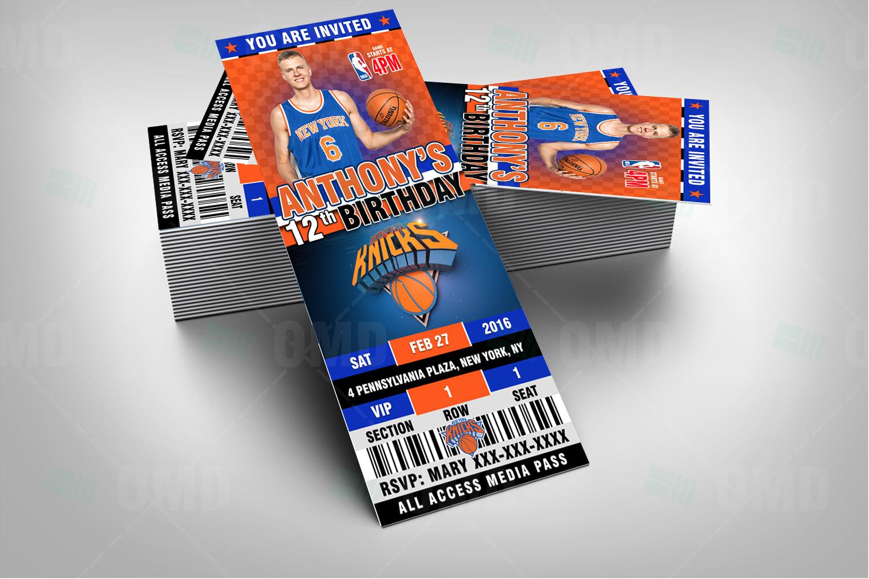 new york knicks sports ticket style party invite  u2013 2 5 u00d76