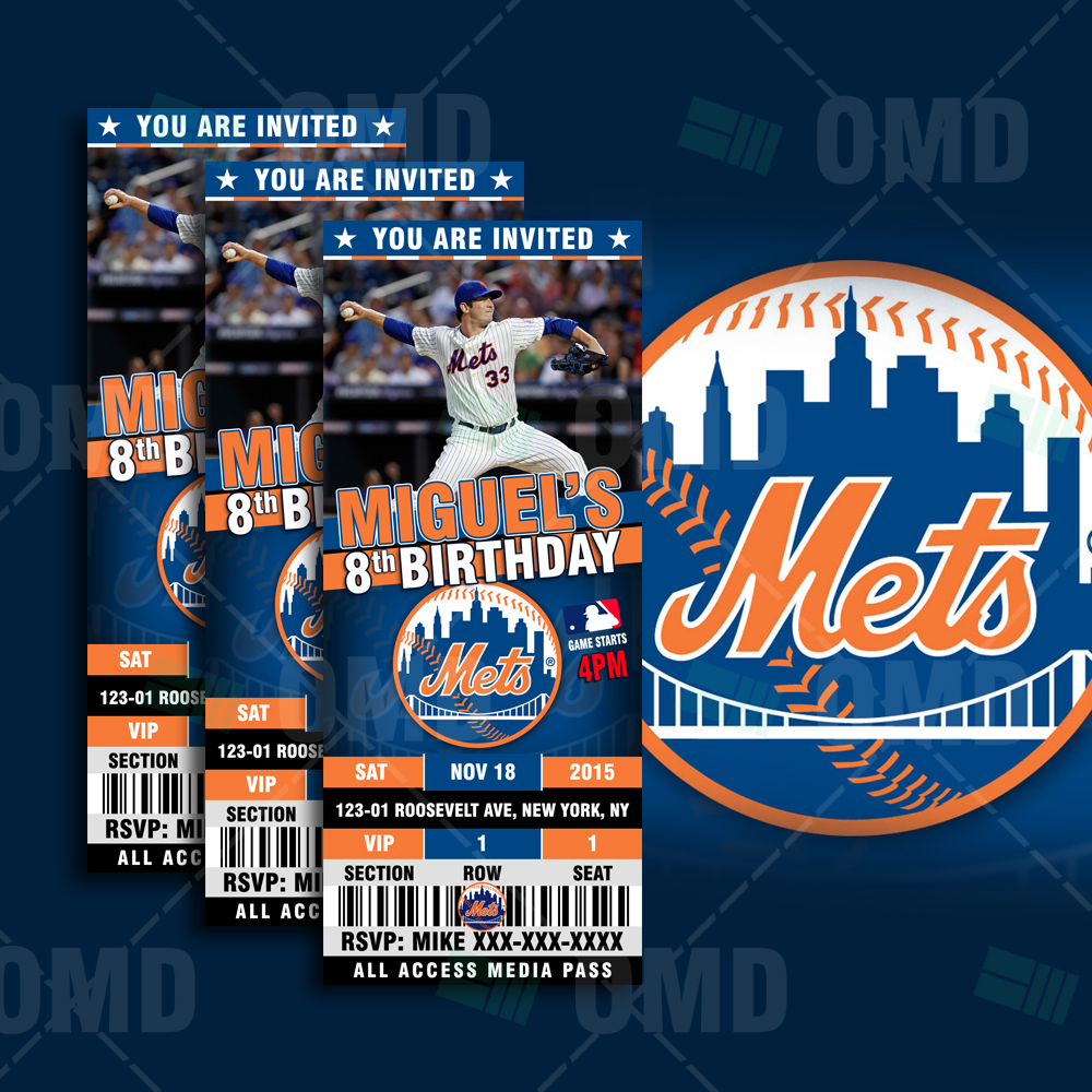 Sports Invites 25 6 New York Mets Sports Party Invitations – New York Party Invitations