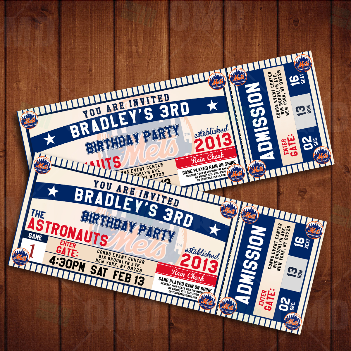 Sports Invites New York Mets Classic Ticket Sports Party Invitations – New York Party Invitations