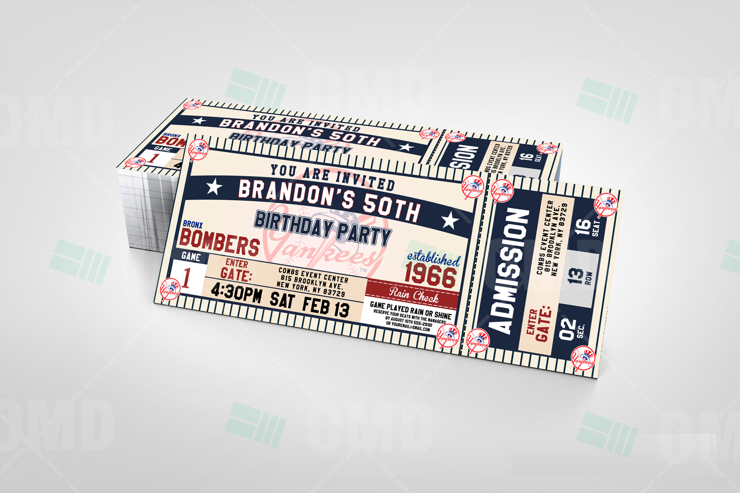 Sports invites new york yankees baseball ultimate party package new york yankees classic ticket sports party invitations stopboris Gallery