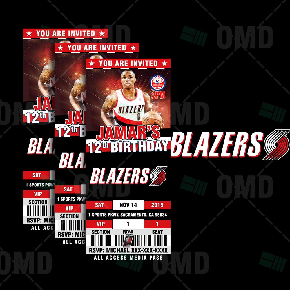 2.5×6″ Portland Trail Blazers Sports Ticket Style Party