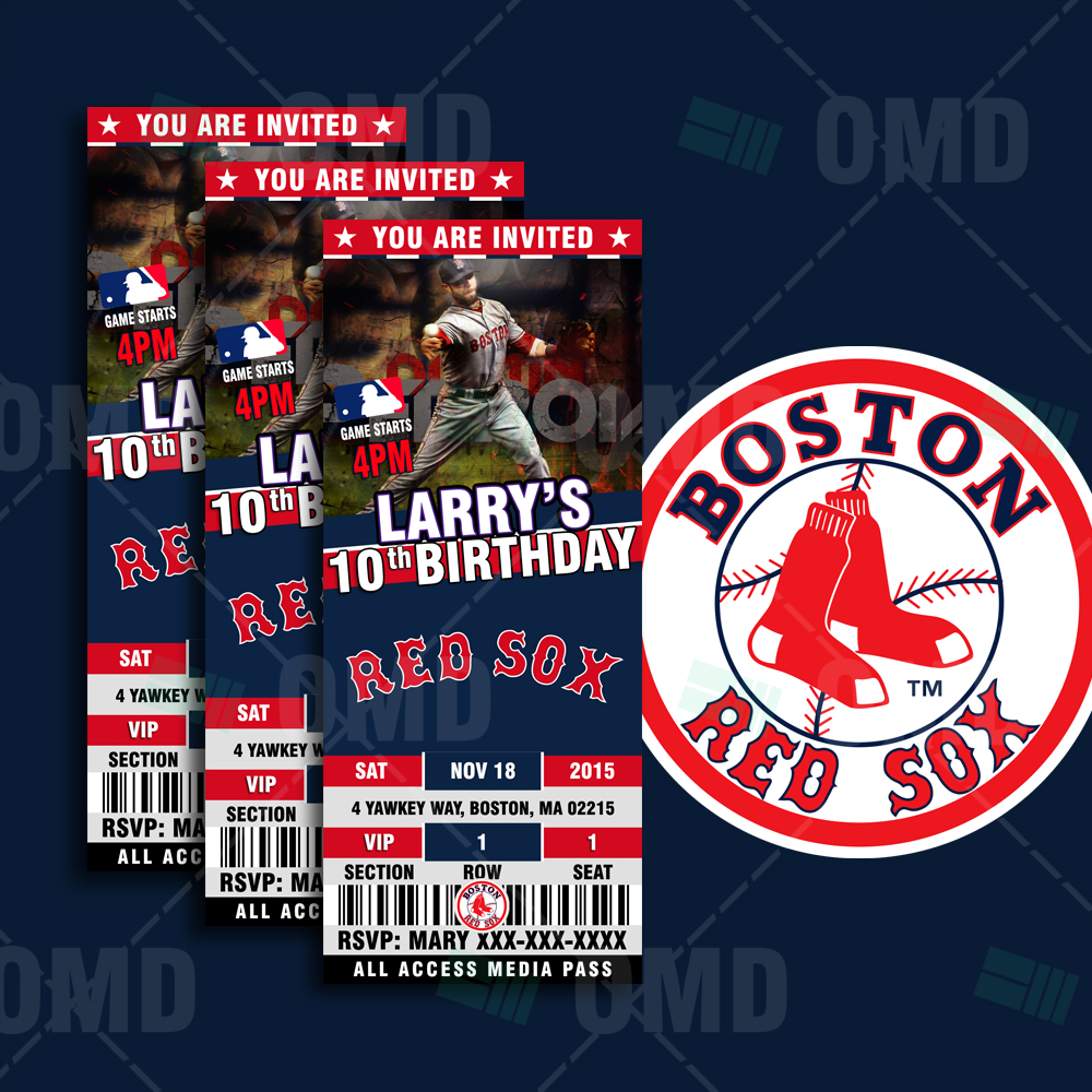 Sports Invites - 2.5×6″ – Boston Red Sox Sports Party Invitations