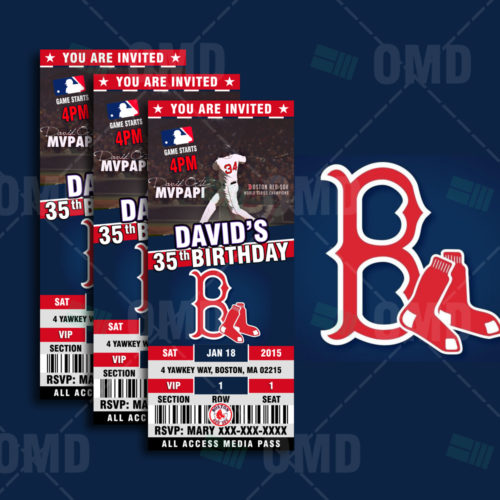 Red Sox Baseballl - Invite 2 - Product1