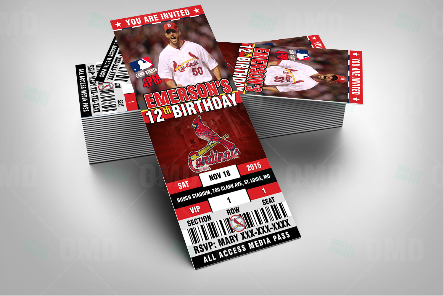 2.5×6″ St. Louis Cardinals Sports Party Invitations – Sports Invites