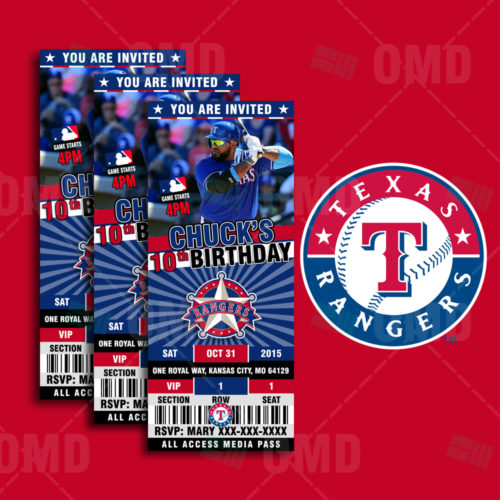 Texas Rangers Baseballl - Invite 1 - Product 1