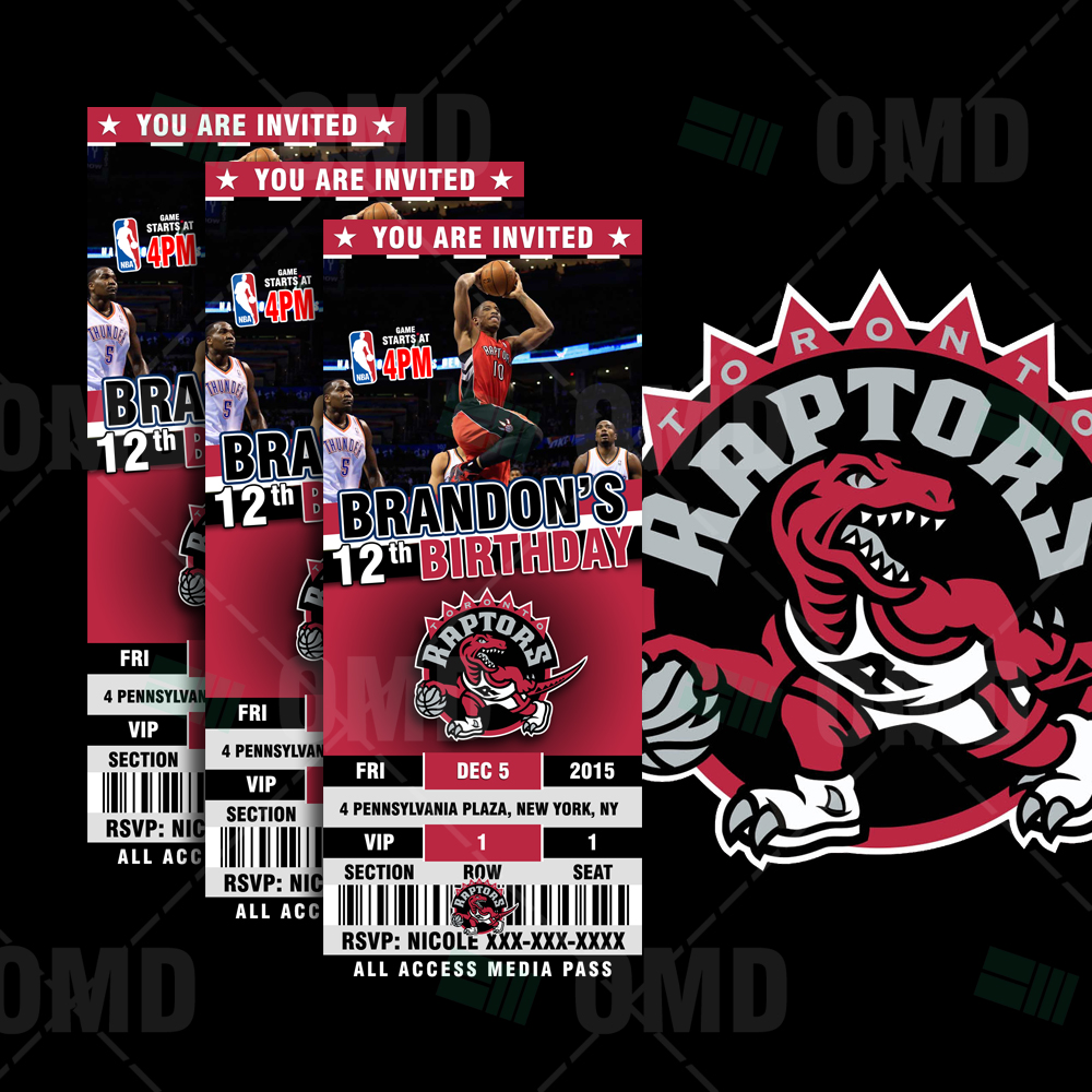 Sports Invites - 2.5×6″ Toronto Raptors Sports Ticket Style Party ...