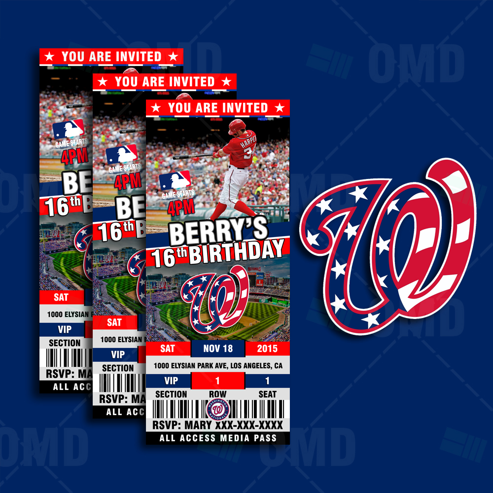 Sports Invites Washington Nationals Ticket Style Sports Party – Ticket Style Birthday Invitations