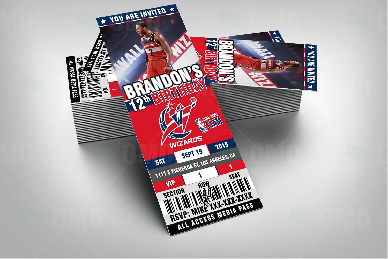 Washington Wizards Sports Ticket Style Party Invites – Sports Invites