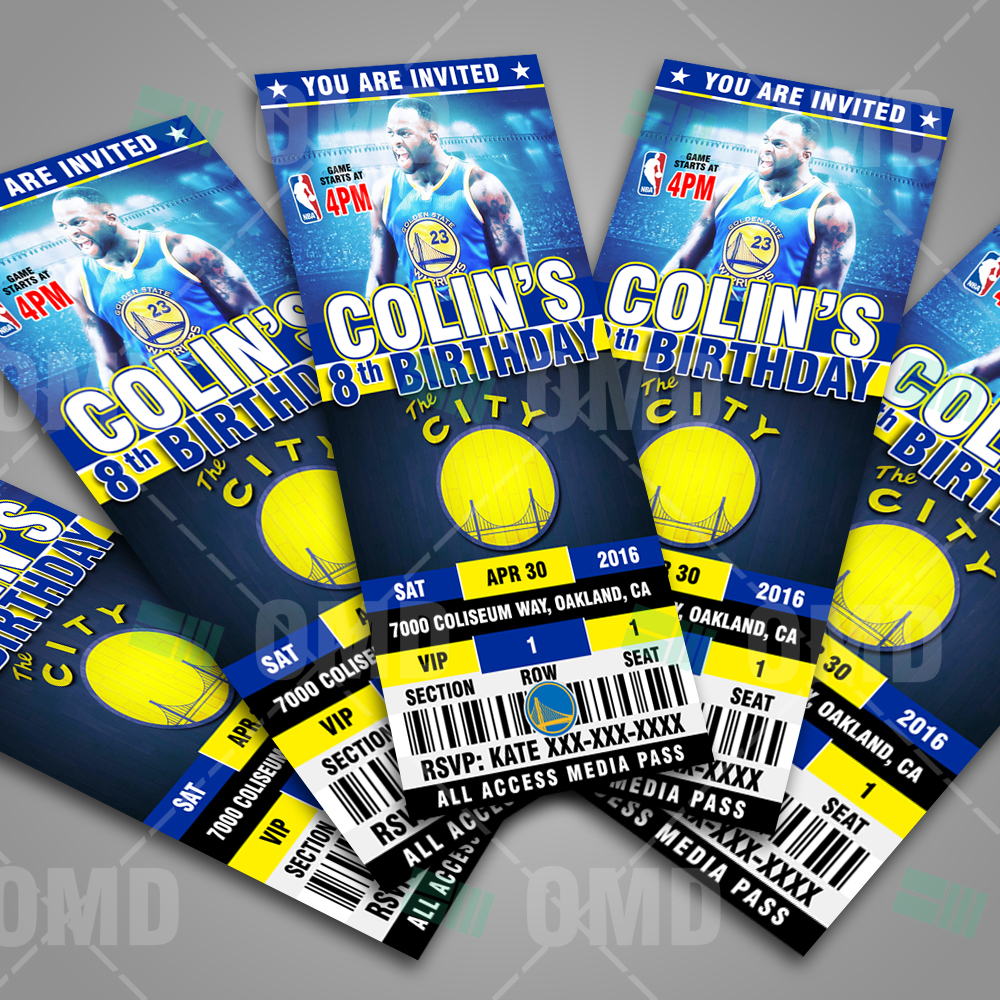 Sports Invites - 2.5×6″ Golden State Warriors Sports Ticket Style ...