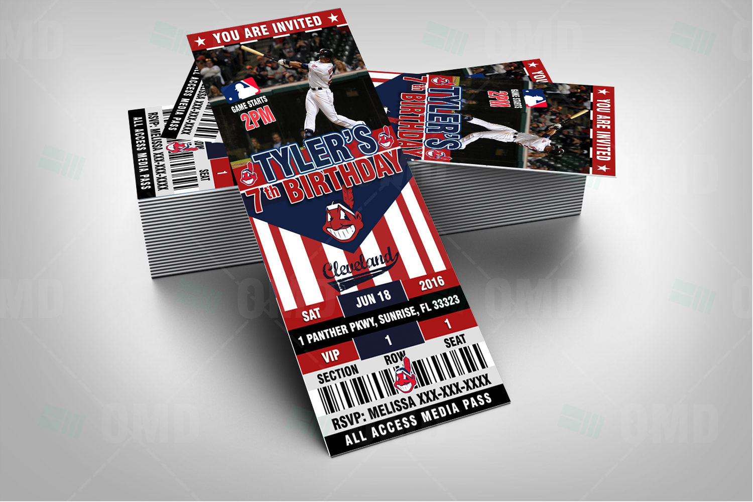 Wedding Invitations Cleveland: 2.5×6″ Cleveland Indians Sports Party Invitations
