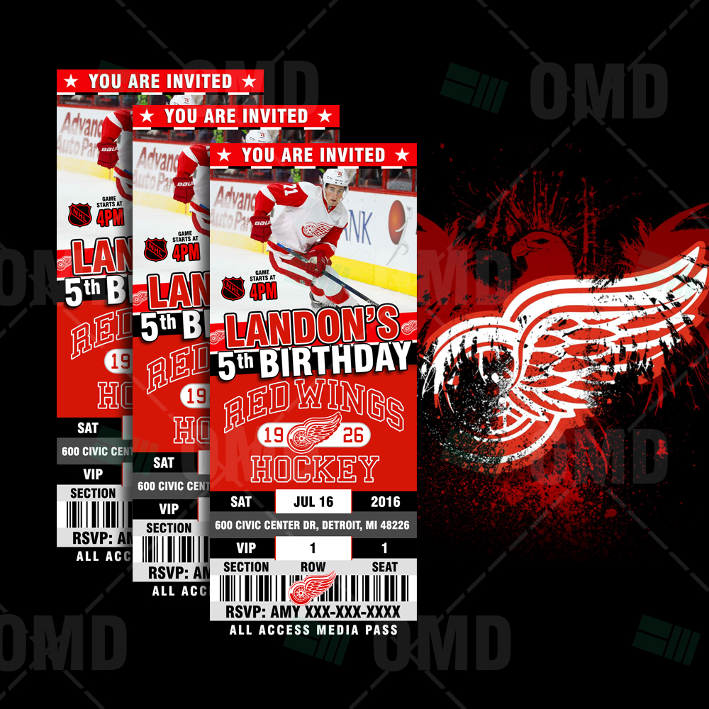 Detroit Red Wings Hockey Sports Party Invitations – Sports Invites