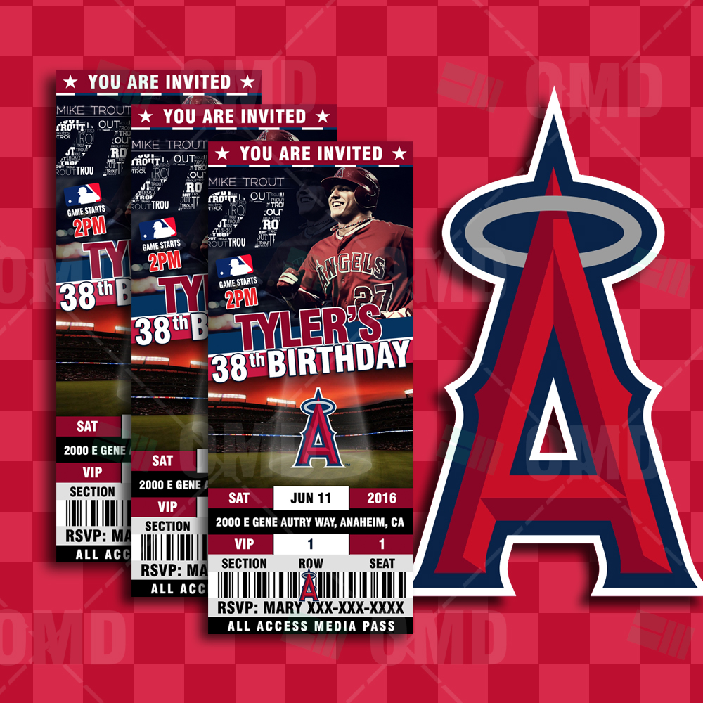 Sports Invites - 2.5×6″ Los Angeles Angels Sports Party Invitations