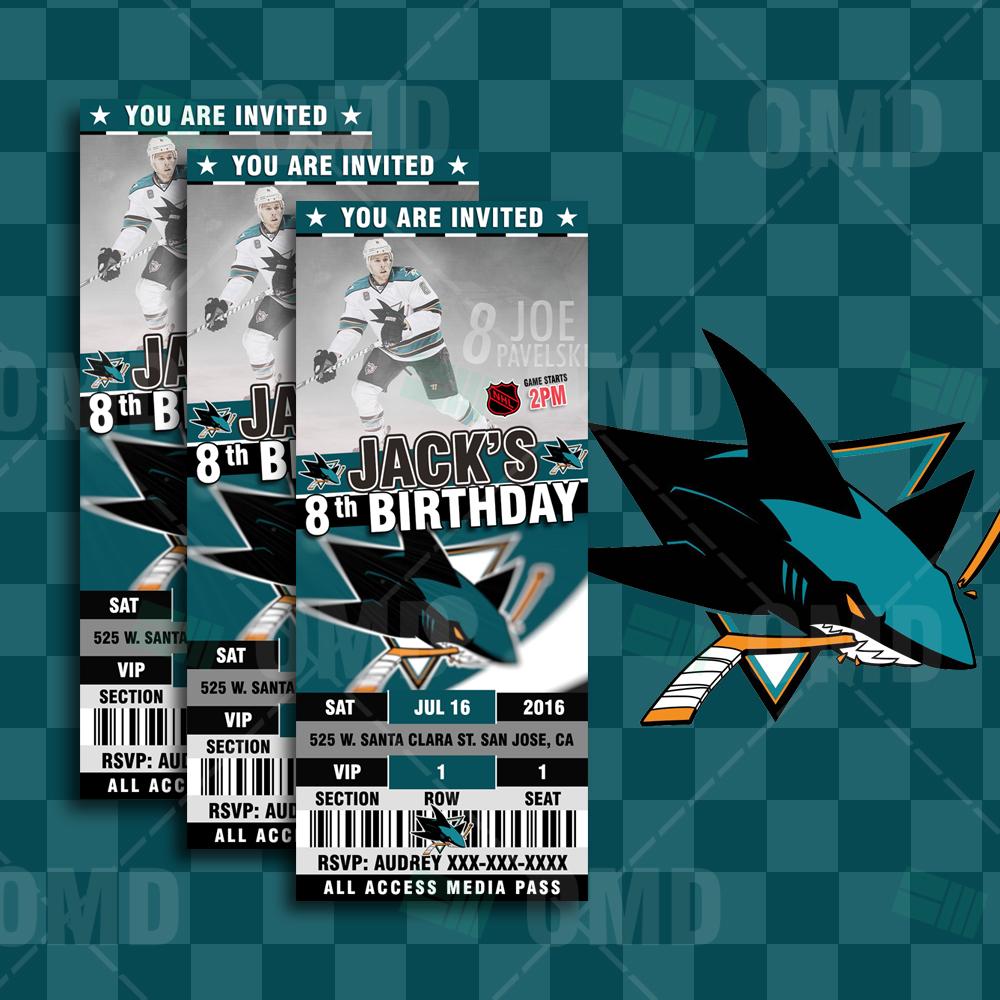 Sports Invites San Jose Sharks Hockey Sports Party Invitations