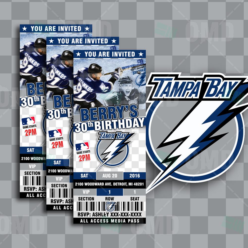 Sports Invites 25 6 Tampa Bay Lightning Hockey Sports Party – Hockey Party Invitations