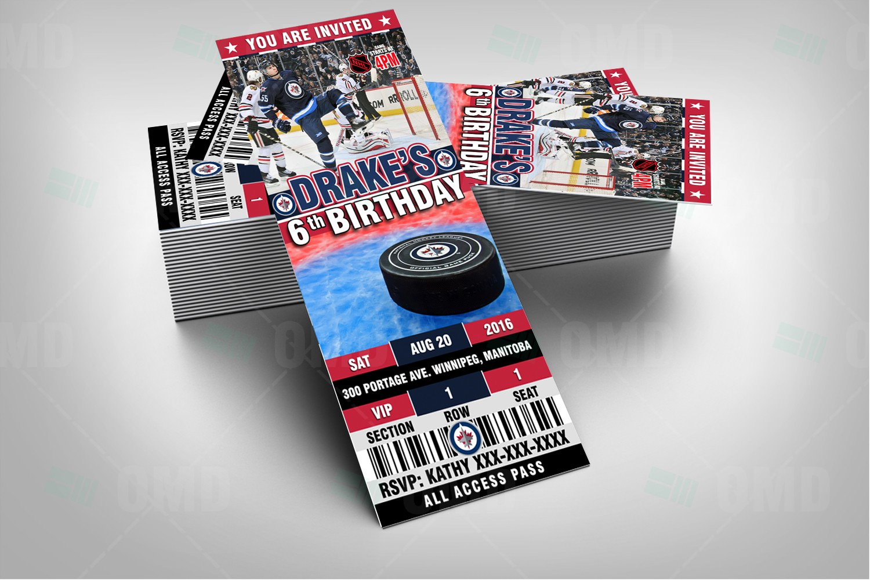 Sports Invites Winnipeg Jets Hockey Sports Party Invitations – Hockey Birthday Party Invitations