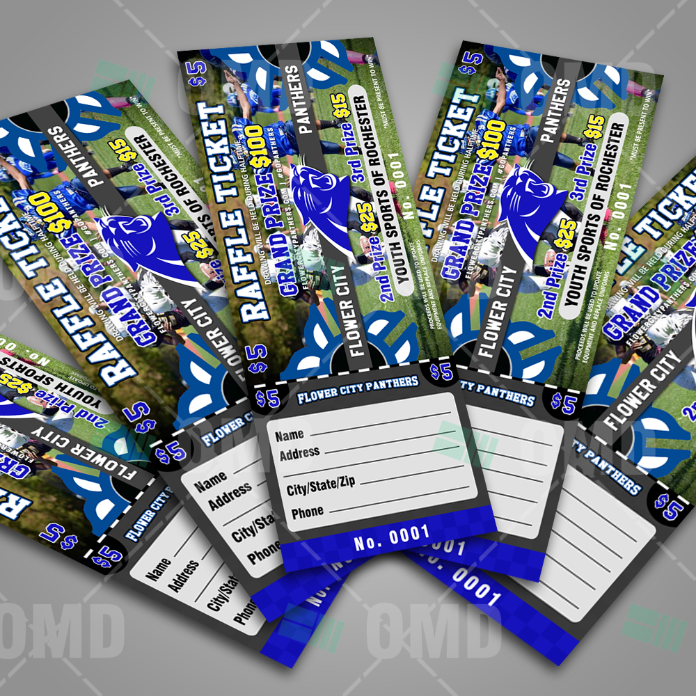 sports invites youth football raffle ticket flower city panthers raffle ticket design product 2