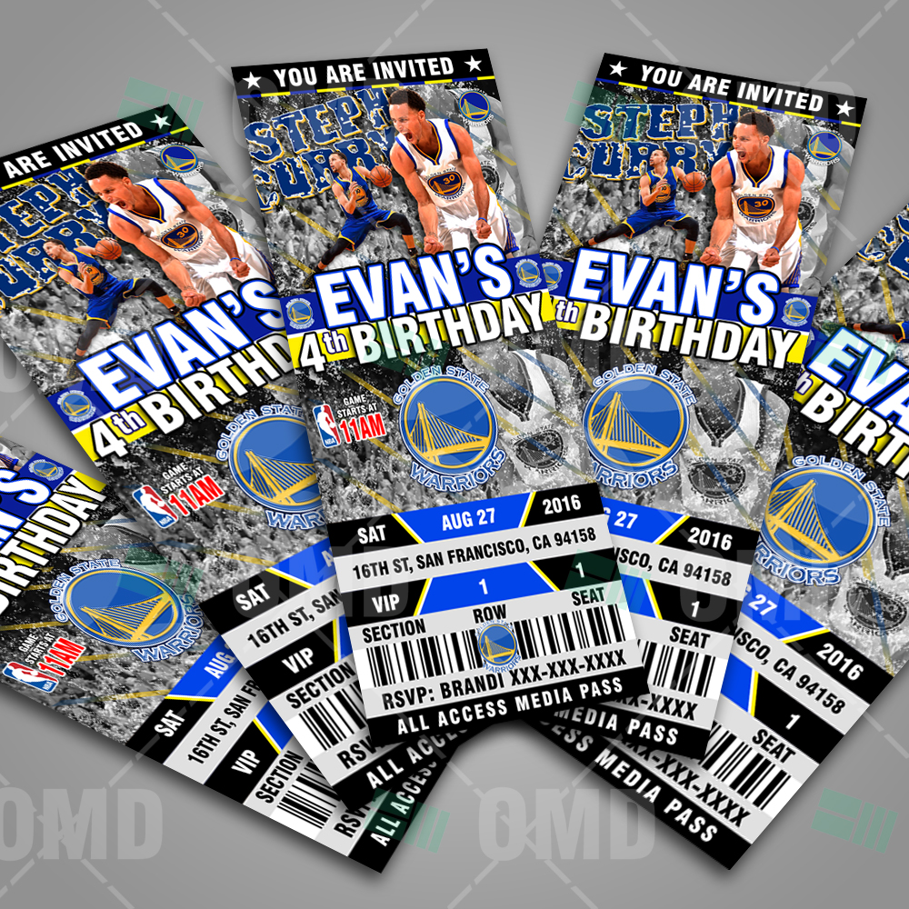 Sports Invites - Custom Golden State Warriors Ticket Style ...