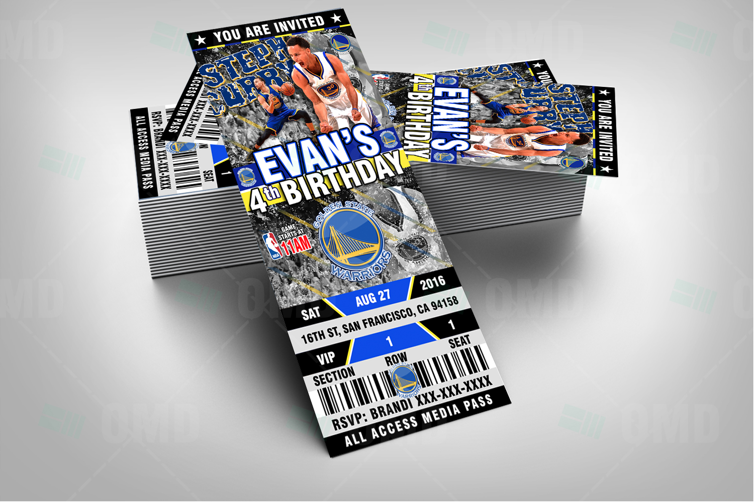 Sports Invites - Custom Golden State Warriors Ticket Style Party ...